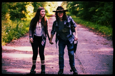 Katelyn Nacon as Enid, Chandler Riggs as Carl Grimes- The Walking Dead _ Season 7, Episode 5 - Photo Credit: Gene Page/AMC