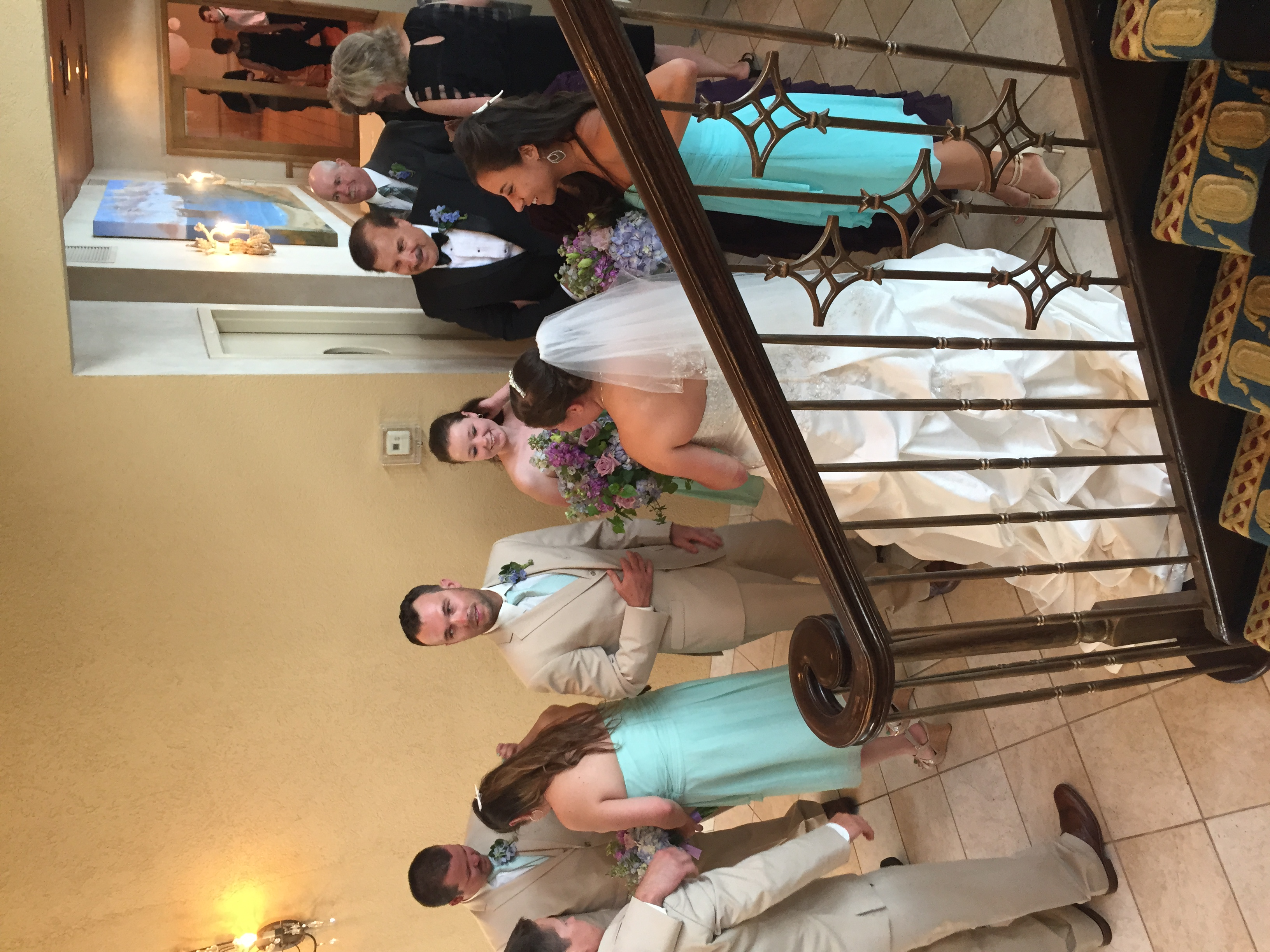 Another happy couple celebrated downstairs. We had dueling weddings. jk jk...The venue is set up so both parties have privacy. I hope we weren't too loud for them. Our party got a little out of control...