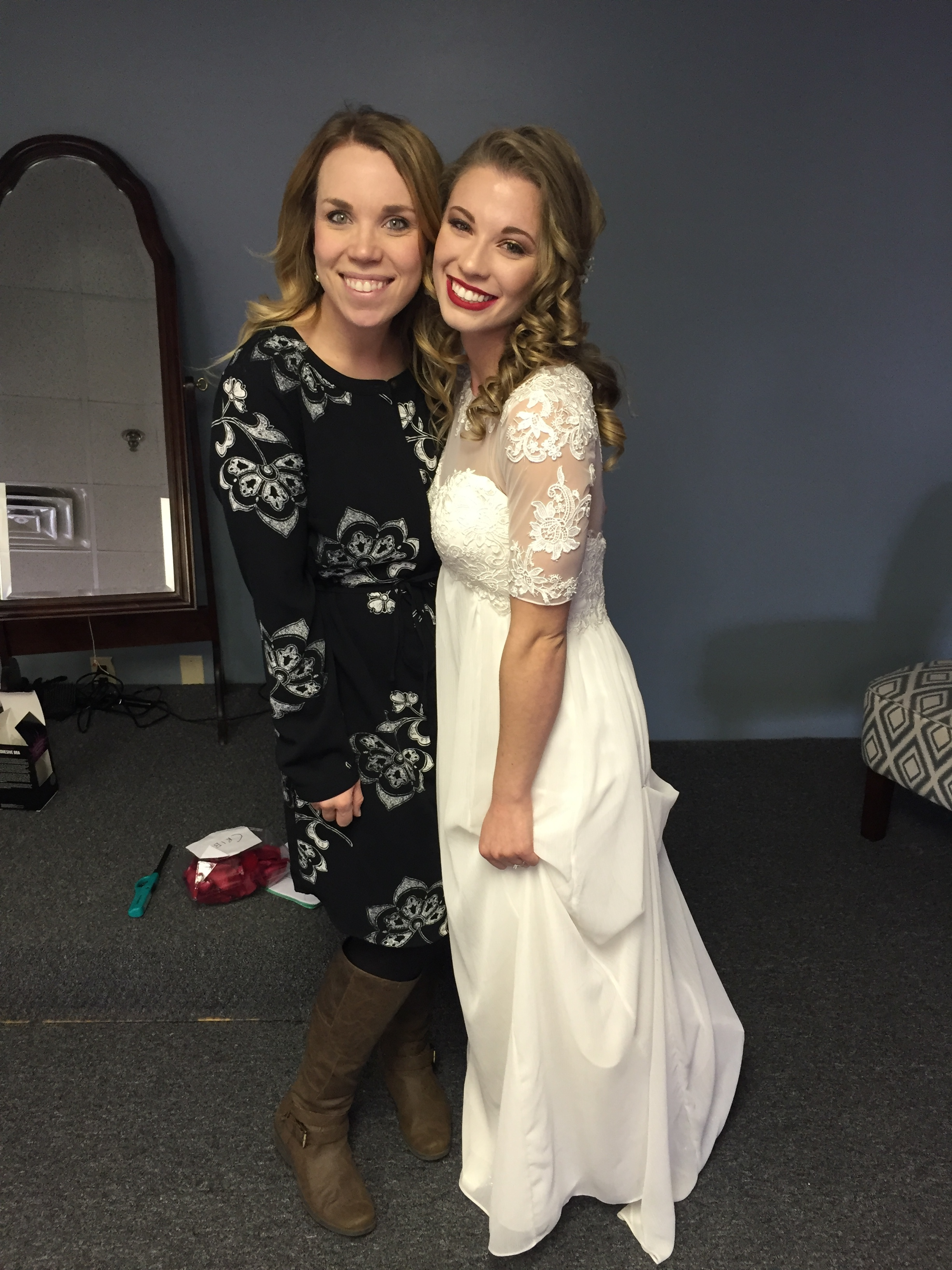 Little fun fact: The first memory I have of Haleigh was when I went to her house to hang out with her old sister, who also happens to be my dear friend, Kenna. Haleigh heard of my love for Harry Potter and left a Ministry of Magic sign on the toilet seat. Haha! This girl is my long lost soulmate! ps- When the girl next to you is wearing red lipstick, you should at least wear some form of lip gloss or SOMETHING.