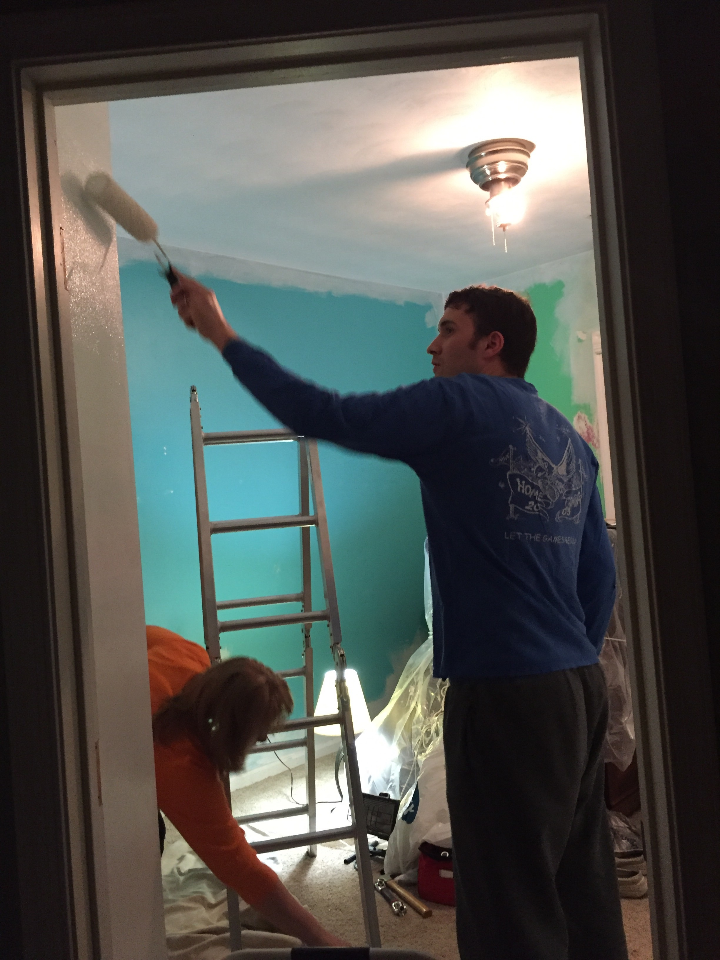 Painting in progress. Goodbye, electric blue!