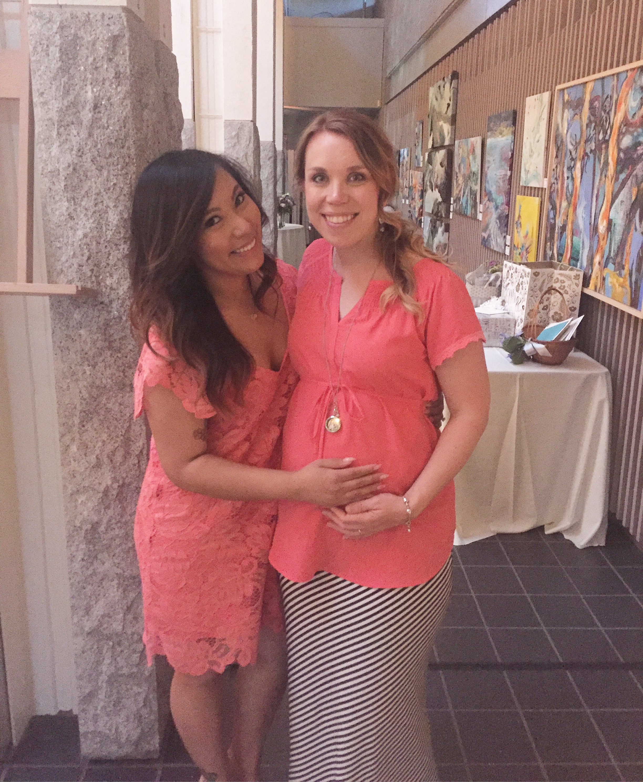 My dear friend, Sharra and I at Kim and Matt's wedding. This was the only bump pic I took this week. Sorry it's so grainy.