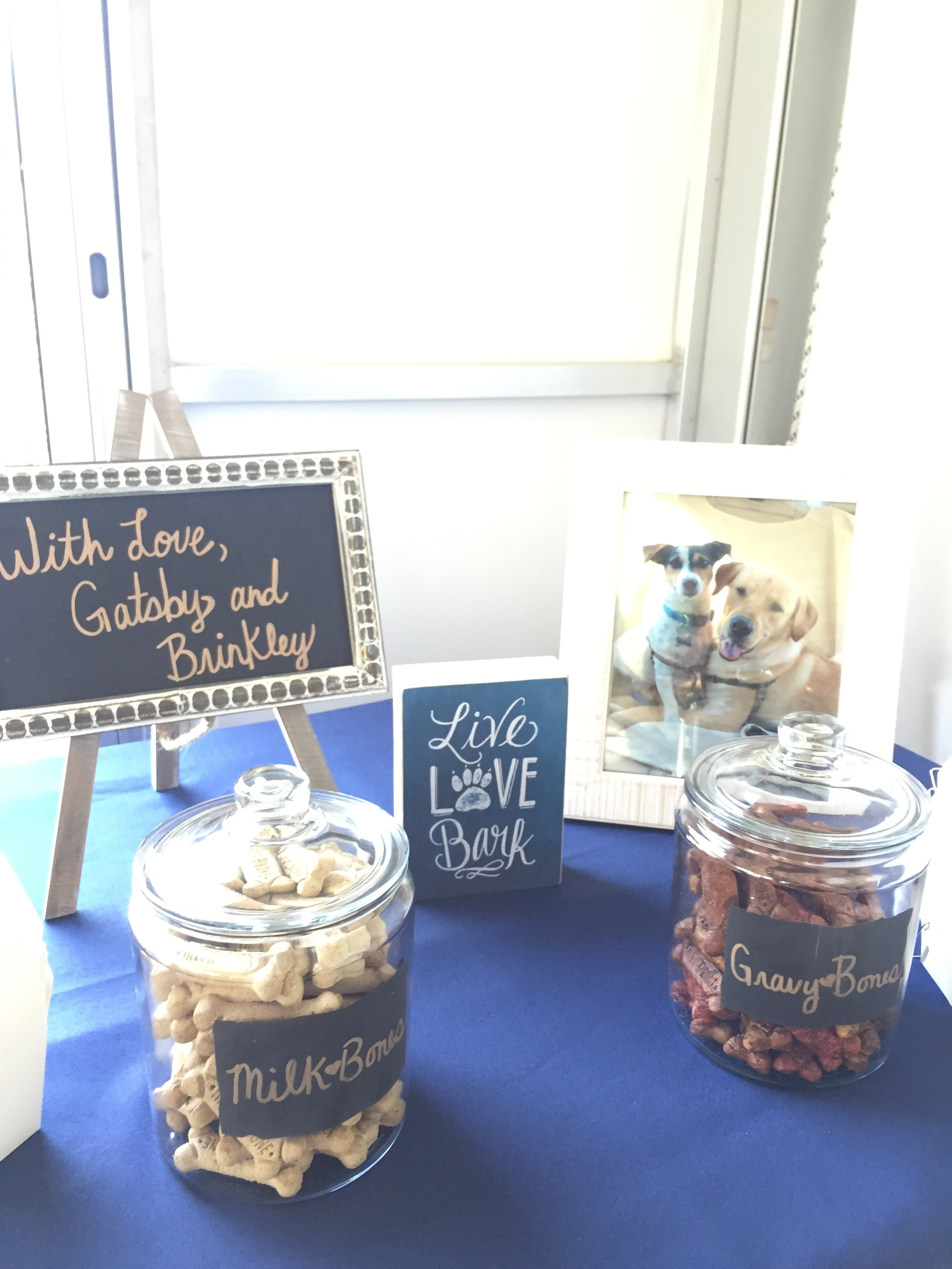 Ashley and Dan's pups sent their love with this doggie bone party favor bar. Woof!