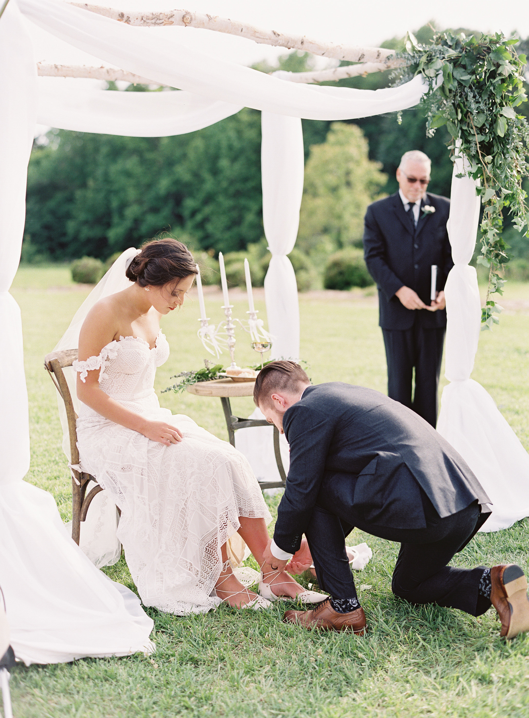Make your ceremony stand out by adding unique personal touches. For Cassie and Stephen, it was communion, worship, and foot washing.
