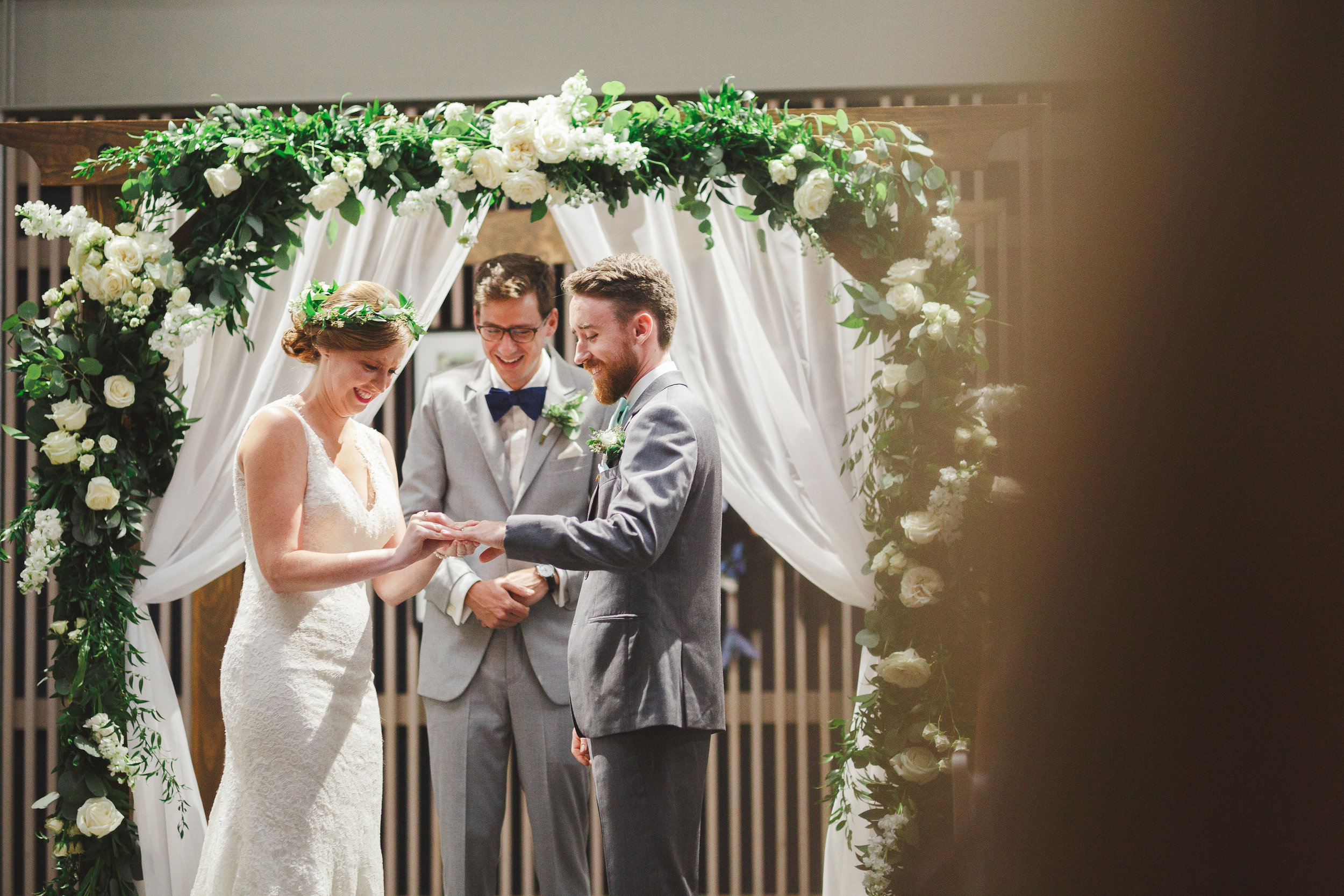 Meghan and Zach were supposed to get married outside, but Mother Nature had other plans. Without hesitation, they let me move their ceremony inside Baker Hall at Norfolk Botanical Garden. It was the most intimate and coziest space you could ever want. Despite the last minute change and the weather, nothing stopped them from living in the moment of their new beginning together.  Photo: Valerie Demo