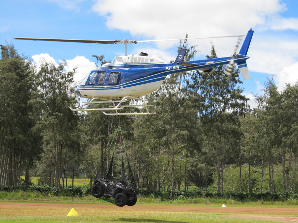 Helicopter with ATV sling load