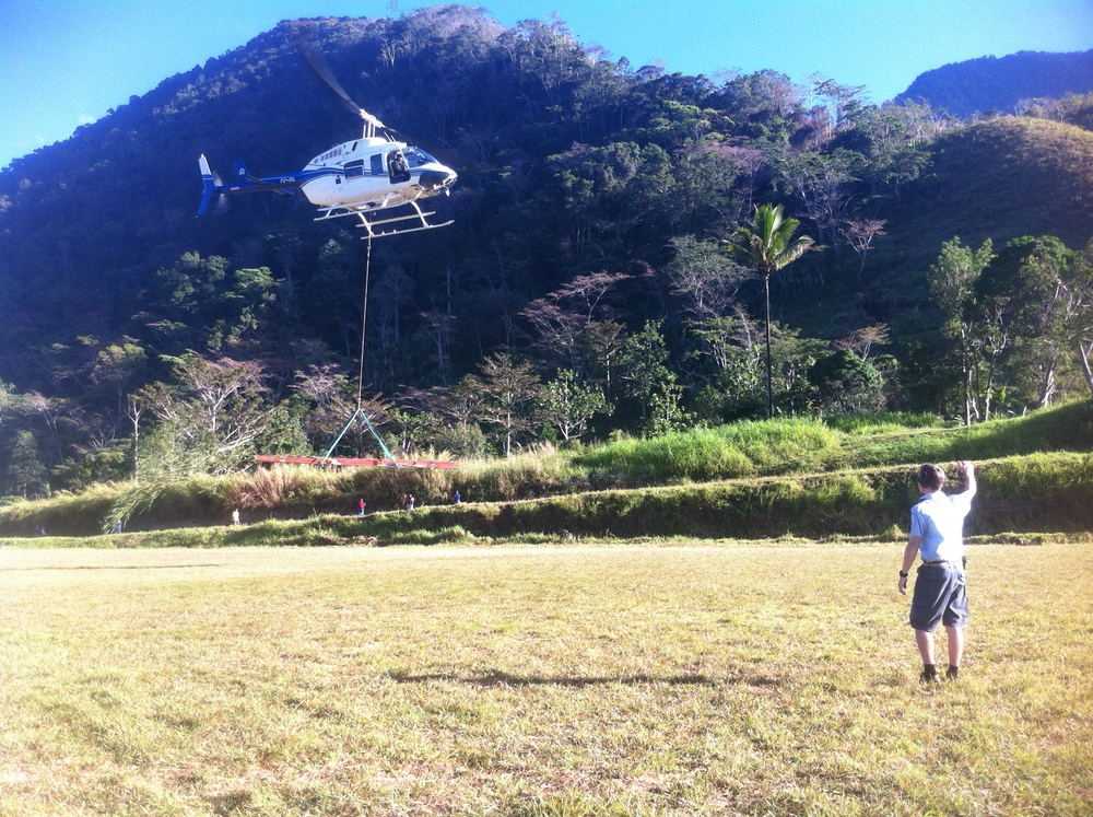 Helicopter on steel building sling load charter, Papua New Guinea (PNG)