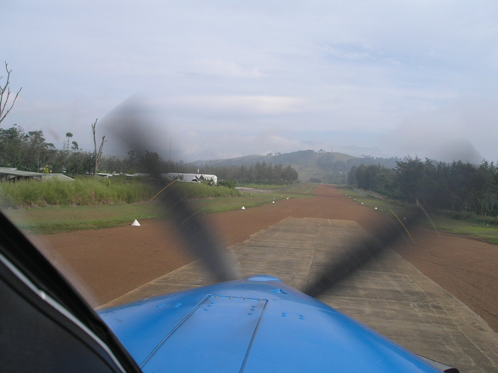 Take off from home base, Papua New Guinea (PNG)
