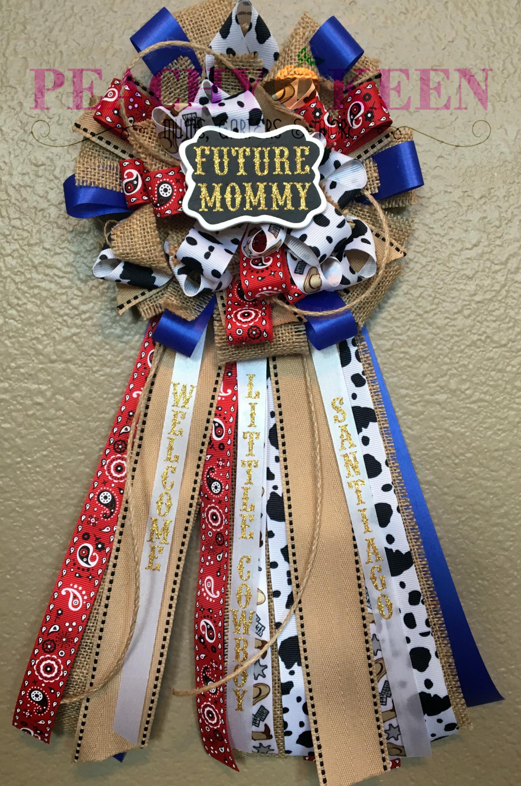 Cowboy baby shower corsage