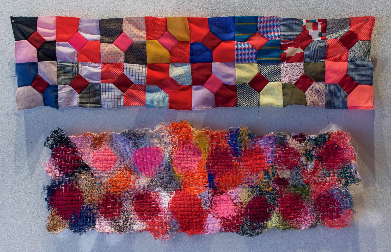 Fiber Art_ Leisure suit quilt string paintings