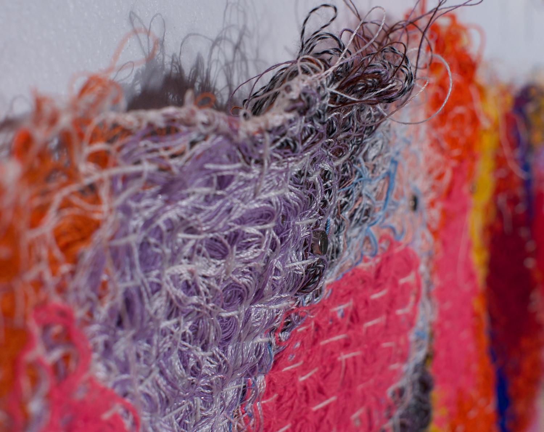 Fiber Art_Leisure suit quilt string painting