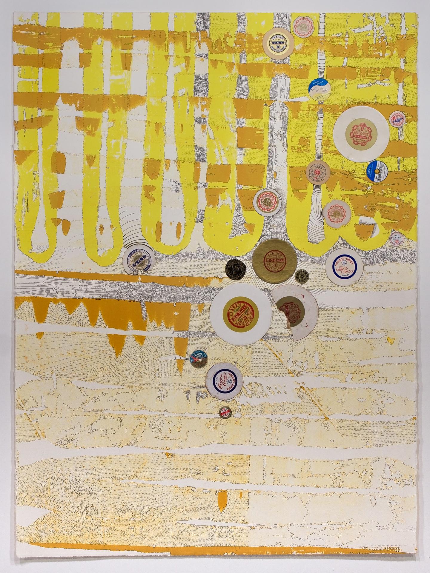 "2012 : 2015 | 42°1'41""N 93°36'22""W, silkscreen, collage, ink, 36"" x 27"" framed, 2015   SALE: $400  Original: $500"