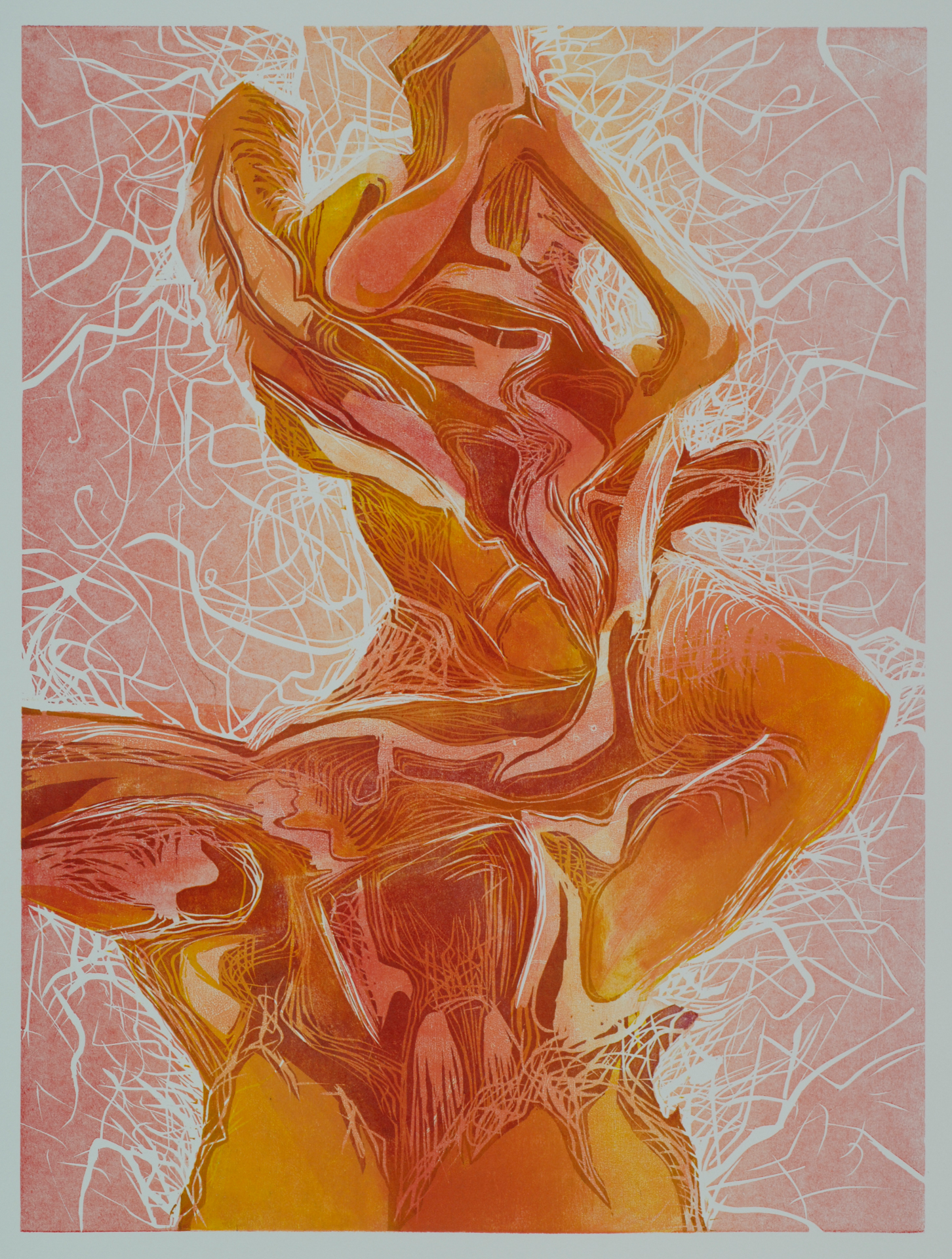 "Flame, Reduction Woodcut, 30"" x 24"" framed, 2008  SALE:$320 Original: $400"