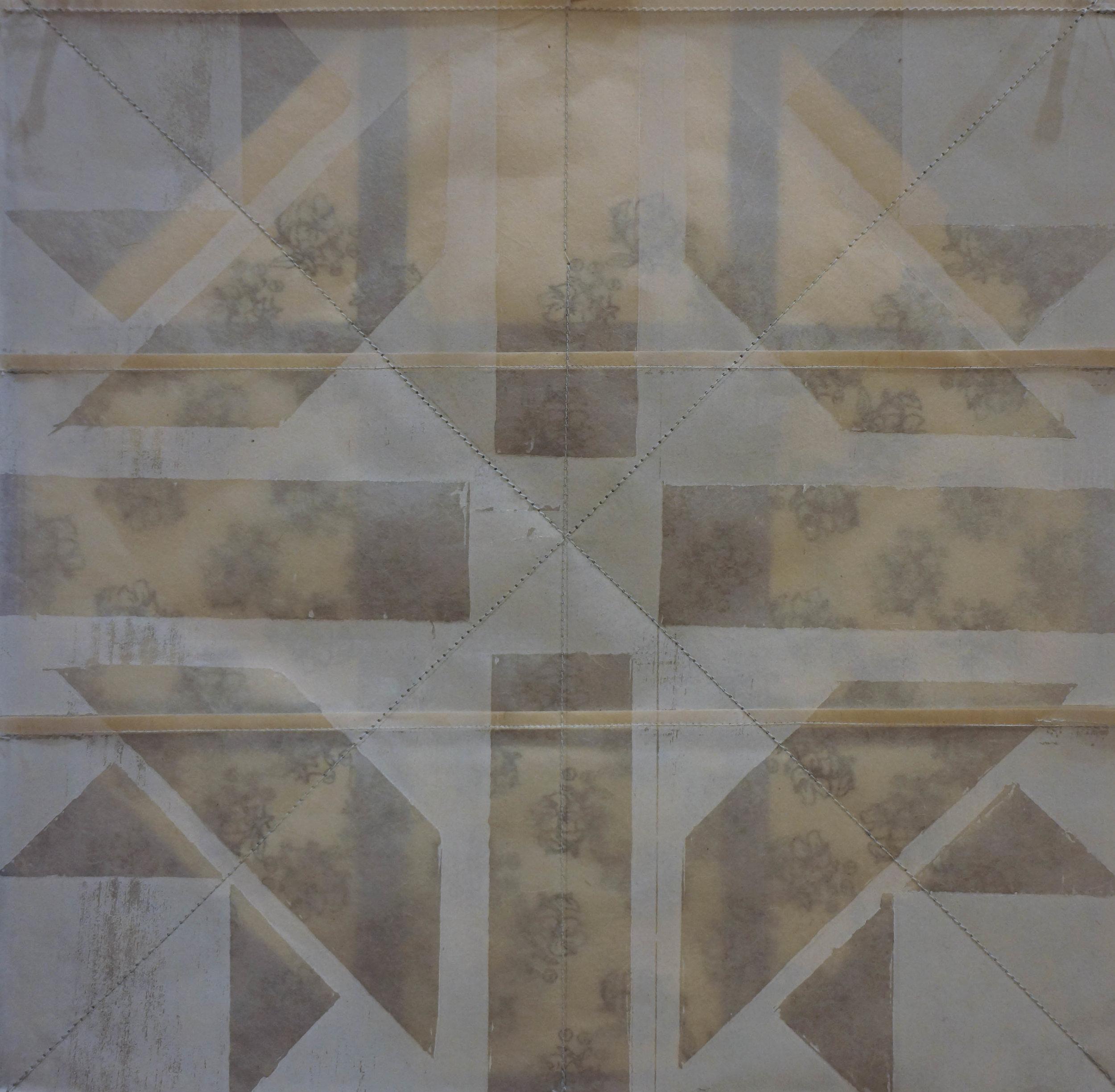"Catharanthus Roseus & Misoprostol, Relief, cyanotype, and paper piecing, 12"" x 12"", 2017."