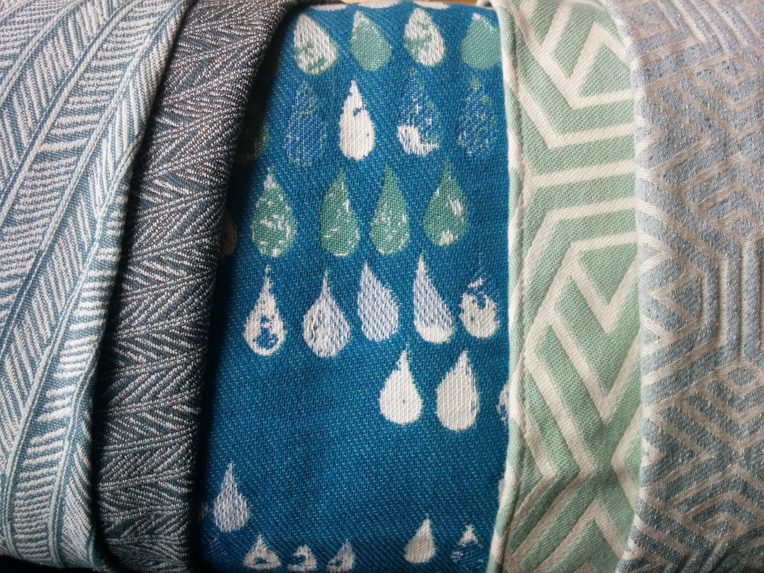 Left to Right:  Light Feathers, Dark Feathers, Droplets, Mint Geo, Study of Sky Geo