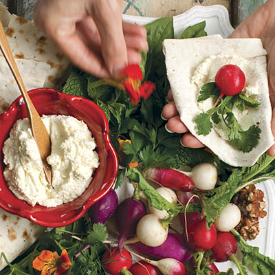 Flatbread with Radishes, Feta, and Spring Herbs From   Eating Local   by Janet Fletcher