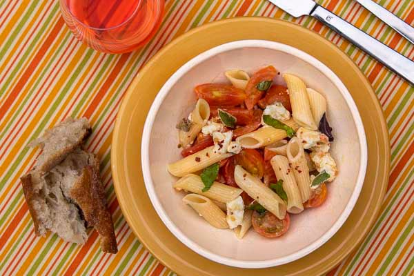 Penne with Spicy Goat Cheese and Tomatoes