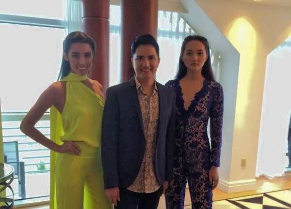 Designer Julian Chang and two models in his Ready-to-wear designs.