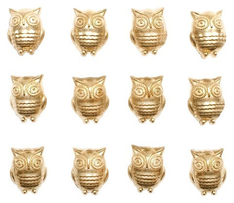 Threshold Owl Push Pins Gold  via