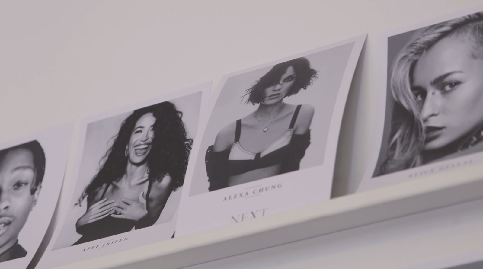 Model Comp Cards at Alexa's agency, NEXT in London.