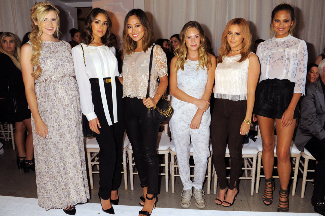 Amber Fillerup, Olivia Culpo, Aimee Song, Dylan Penn, Ashley Tisdale and Chrissy Teigen at the LC Lauren Conrad Runway Collection for Kohls NYFW Show. Photo by Jennifer Graylock