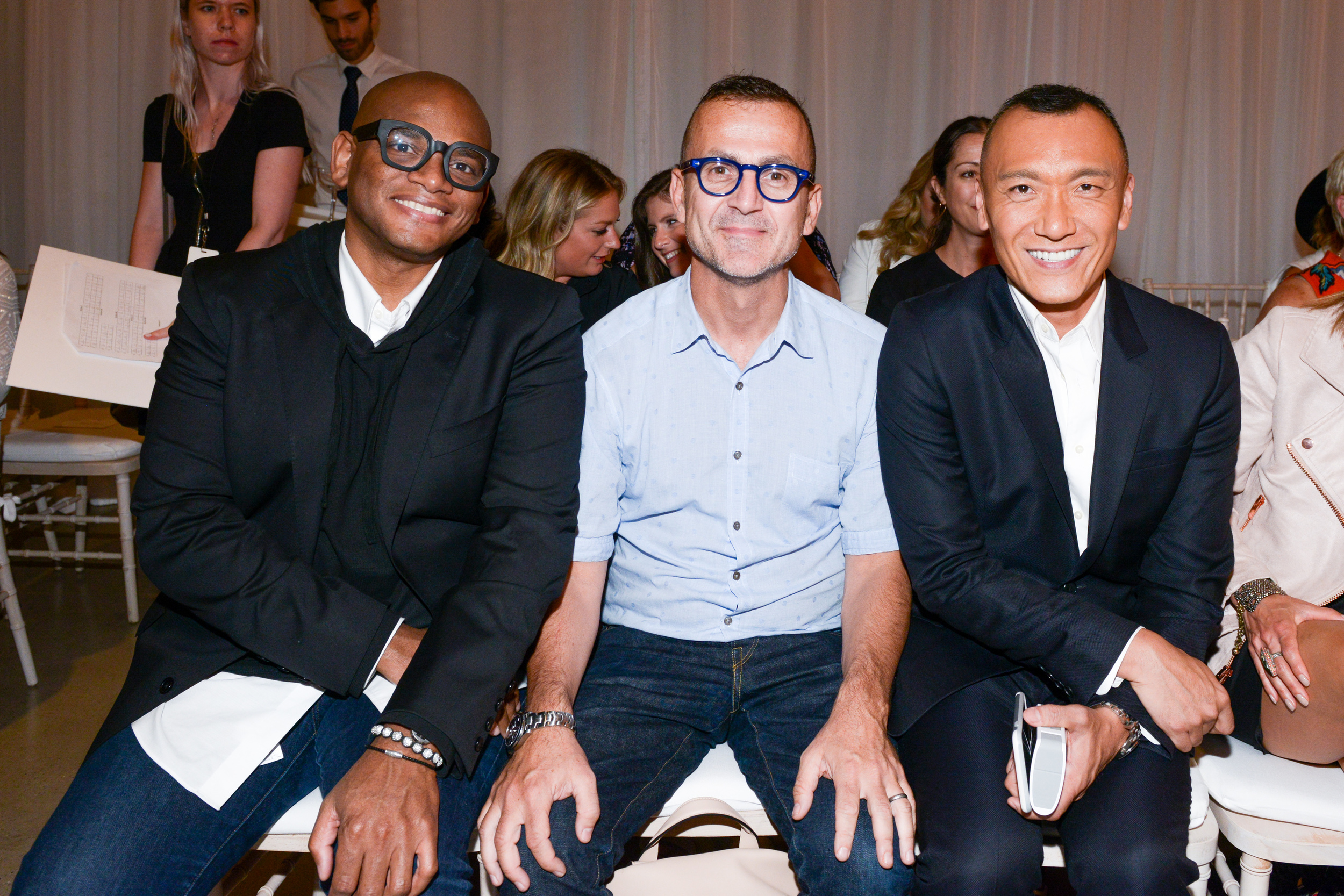 Arthur Lewis, Steven Kolb (CFDA President), and Joe Zee (Editor-in-Chief of Yahoo Style) at the LC Lauren Conrad Runway Collection for Kohl's NYFW Show. Photography by Zach Hyman of Billy Farrell Agency.