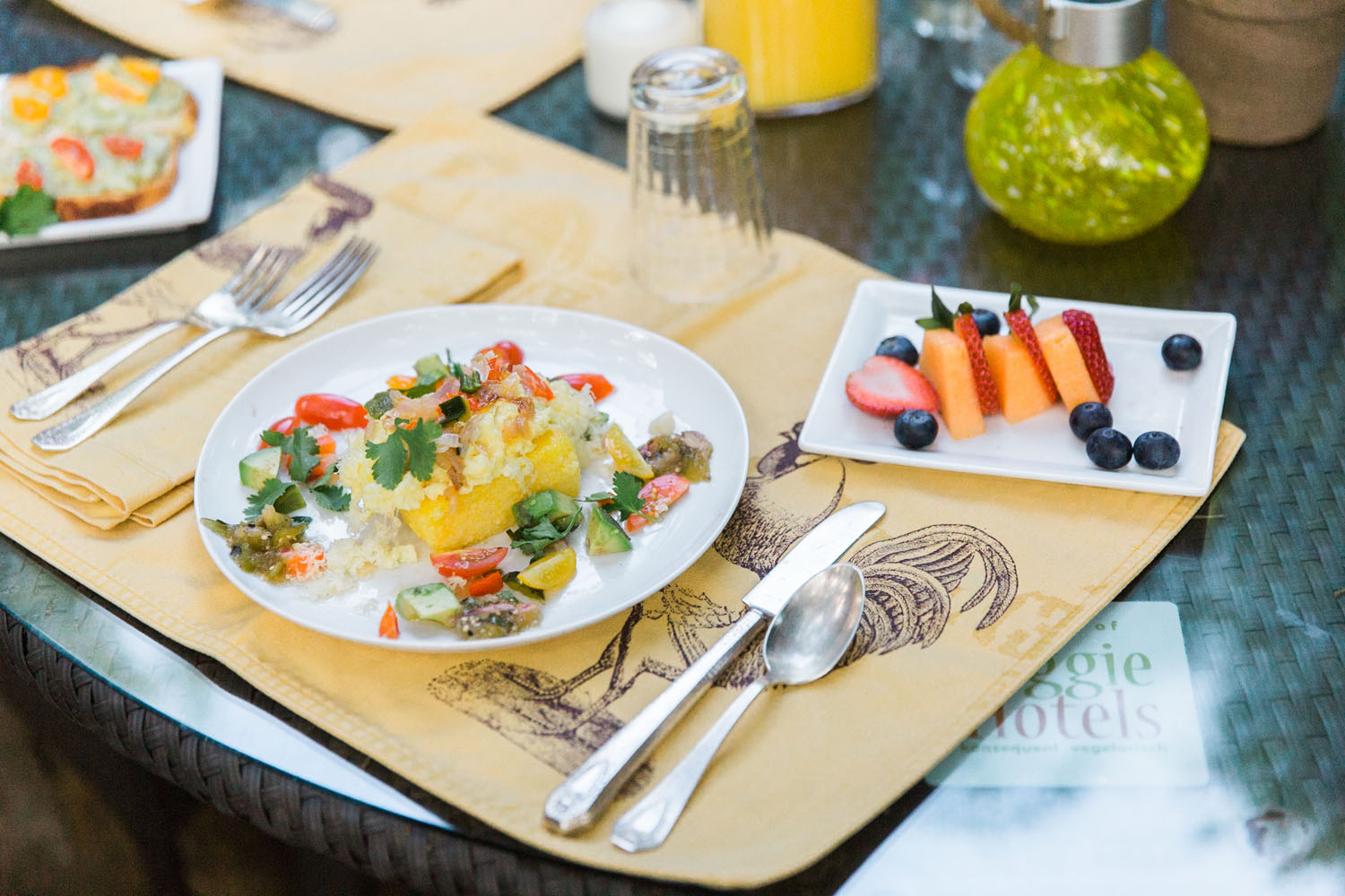 Indulge yourself each morning with a freshly prepared organic vegetarian or vegan breakfast. Fresh eggs from our free range hens, fruits and vegetables from our organic garden and many locally-sourced ingredients.    Breakfast is served on your private deck, by the pool, or in the main house dining room.