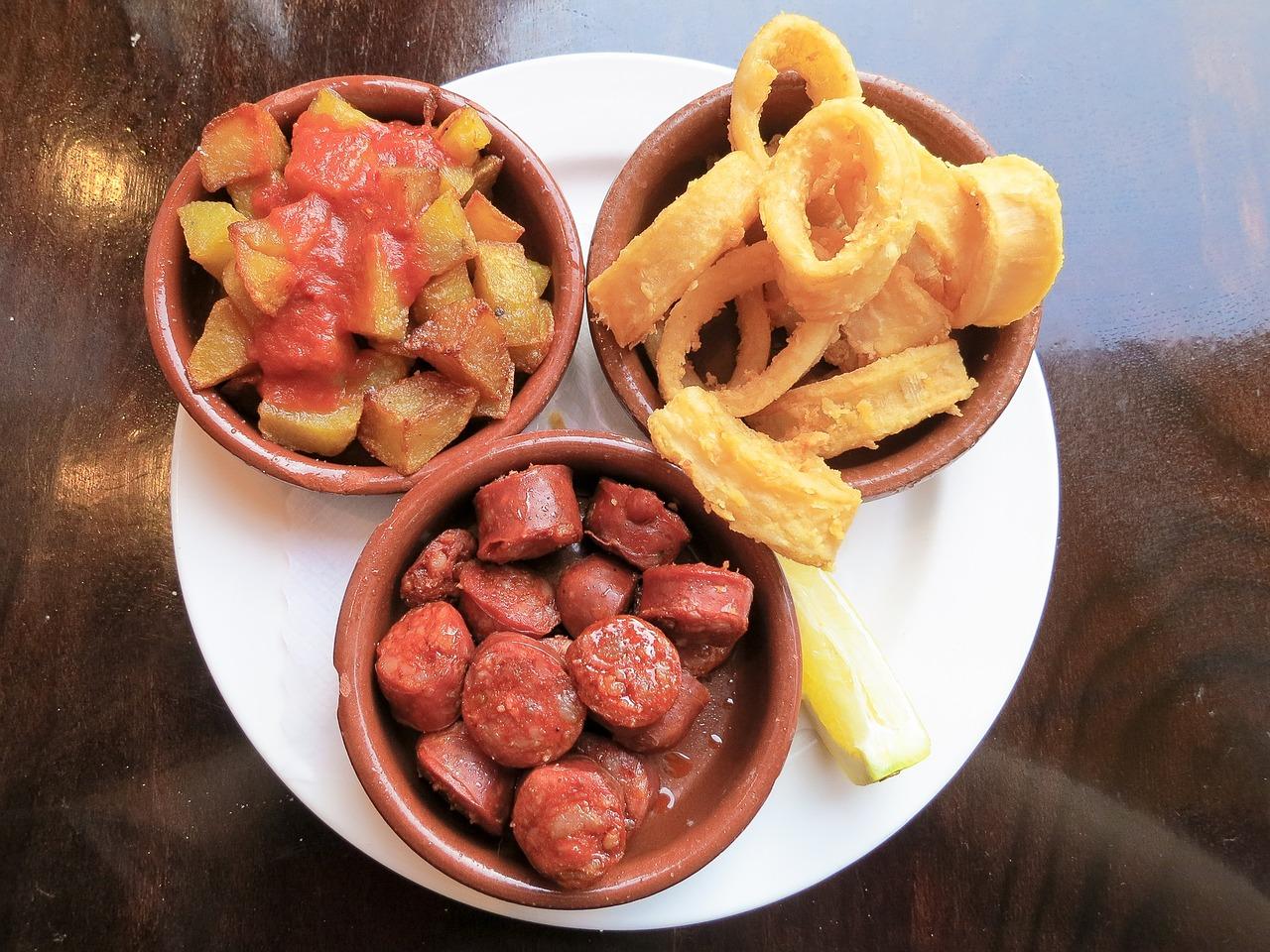 Pictured: chorizo, patatas bravas and calamares
