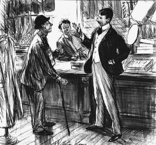 Blind Beggar in Store, 1912