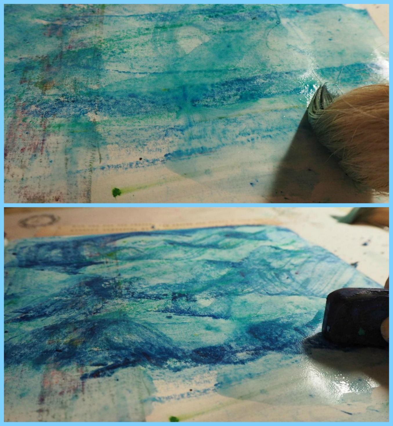 Then used a large wet brush to make the color pop!