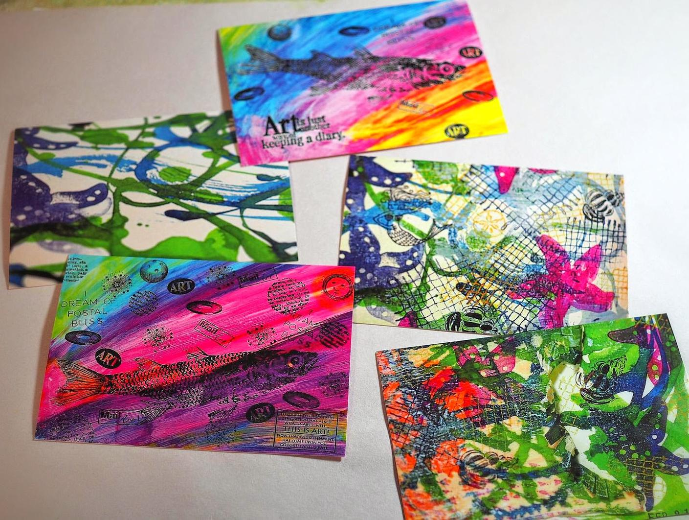 My postcards were images from my art journal - 3 with the starfish, plus copies ofwild Fish Mail Art I had made & sent previously. I made 10 altogether so I had extra to trade.