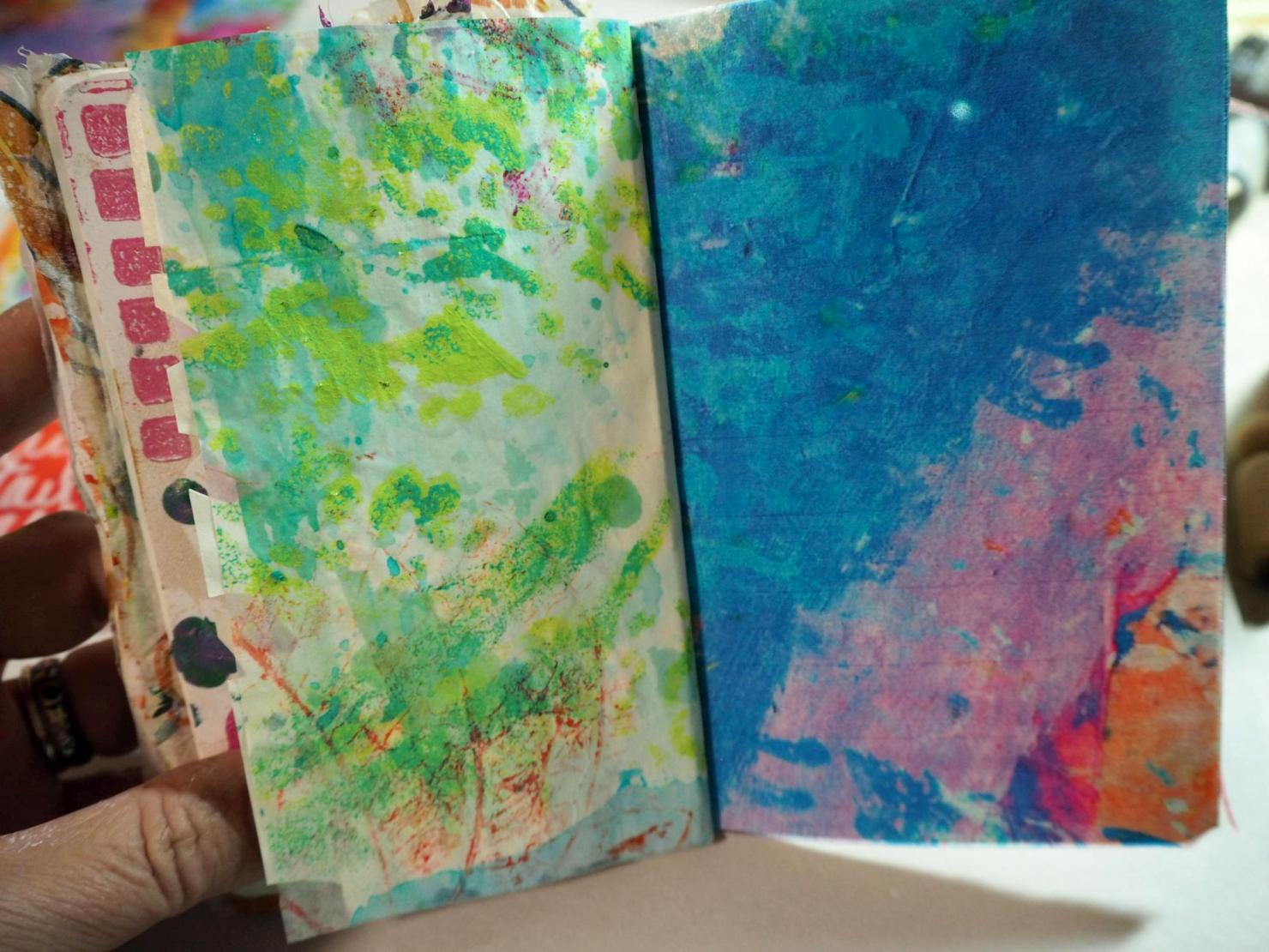 I also added background paper by me (L)and by Carolyn Dube (R). I am taking a free class with her (see sidebar)