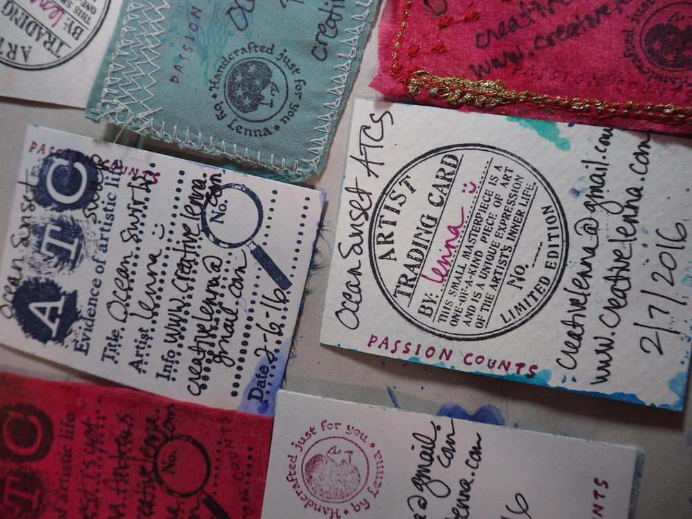 The backs of my ATCs for a swap with contact info
