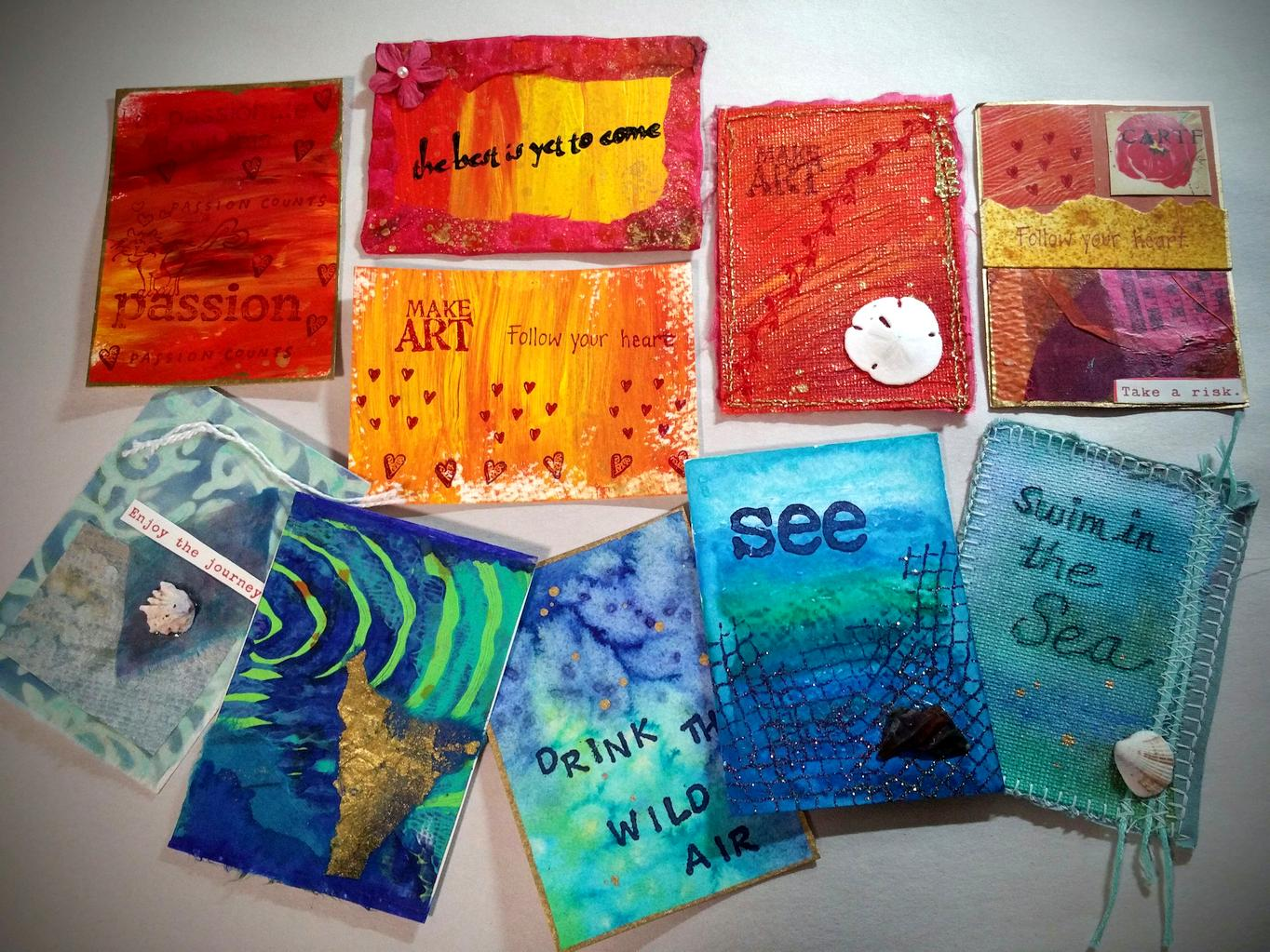 My Sunset and Ocean ATC Samples  for our upcoming swap 4/23/16