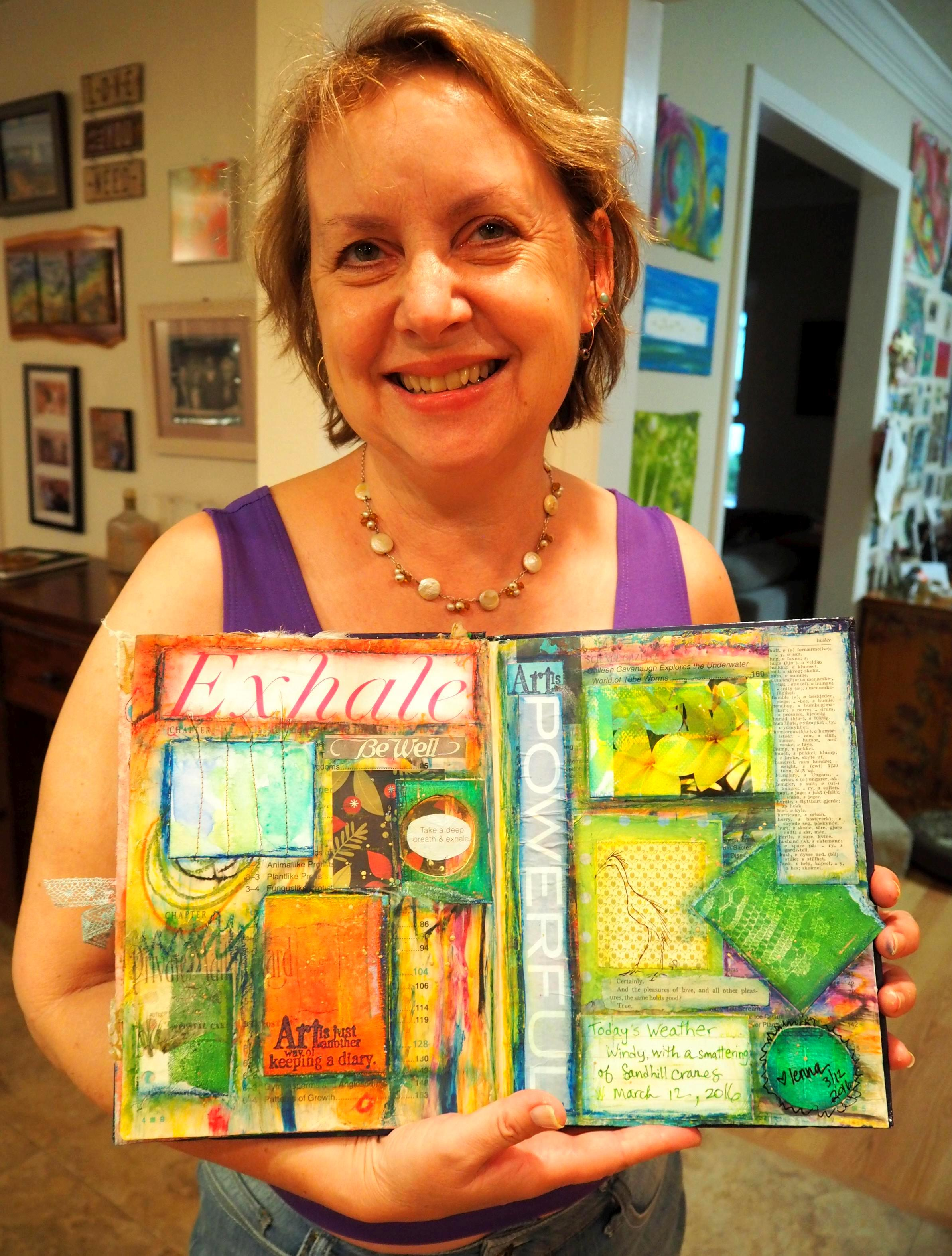 Happy Lenna holding her page  with Steven's drawing!