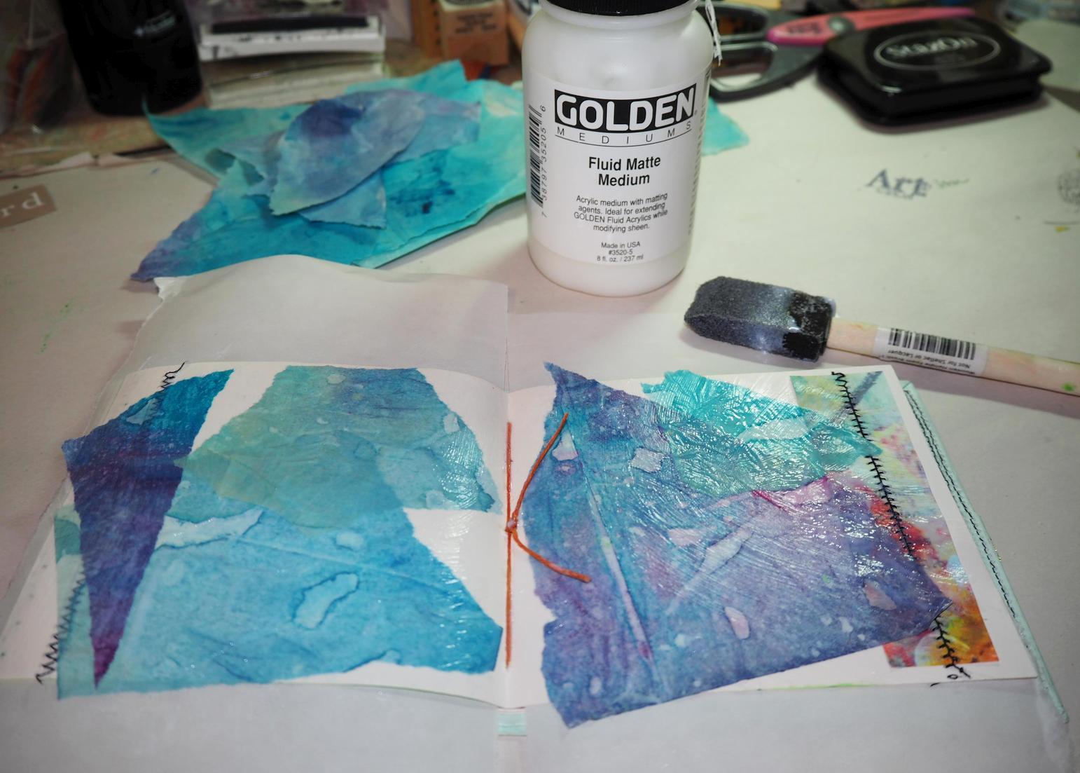 Applied to my sweet handmade Journal  (thanks, Frieda!) with Matte Medium
