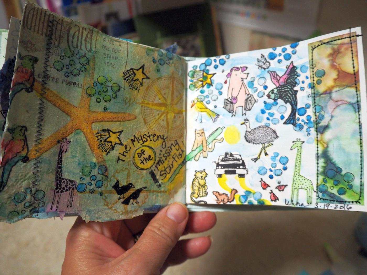 The finished journal spread (it is tiny!)