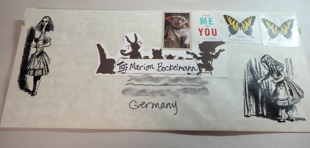 My envelope for Marion