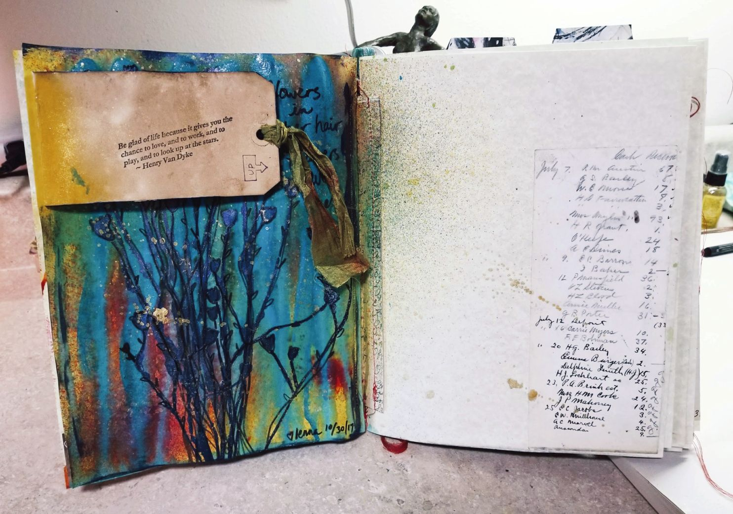 The whole spread. The next page gets a head start with spray ink!