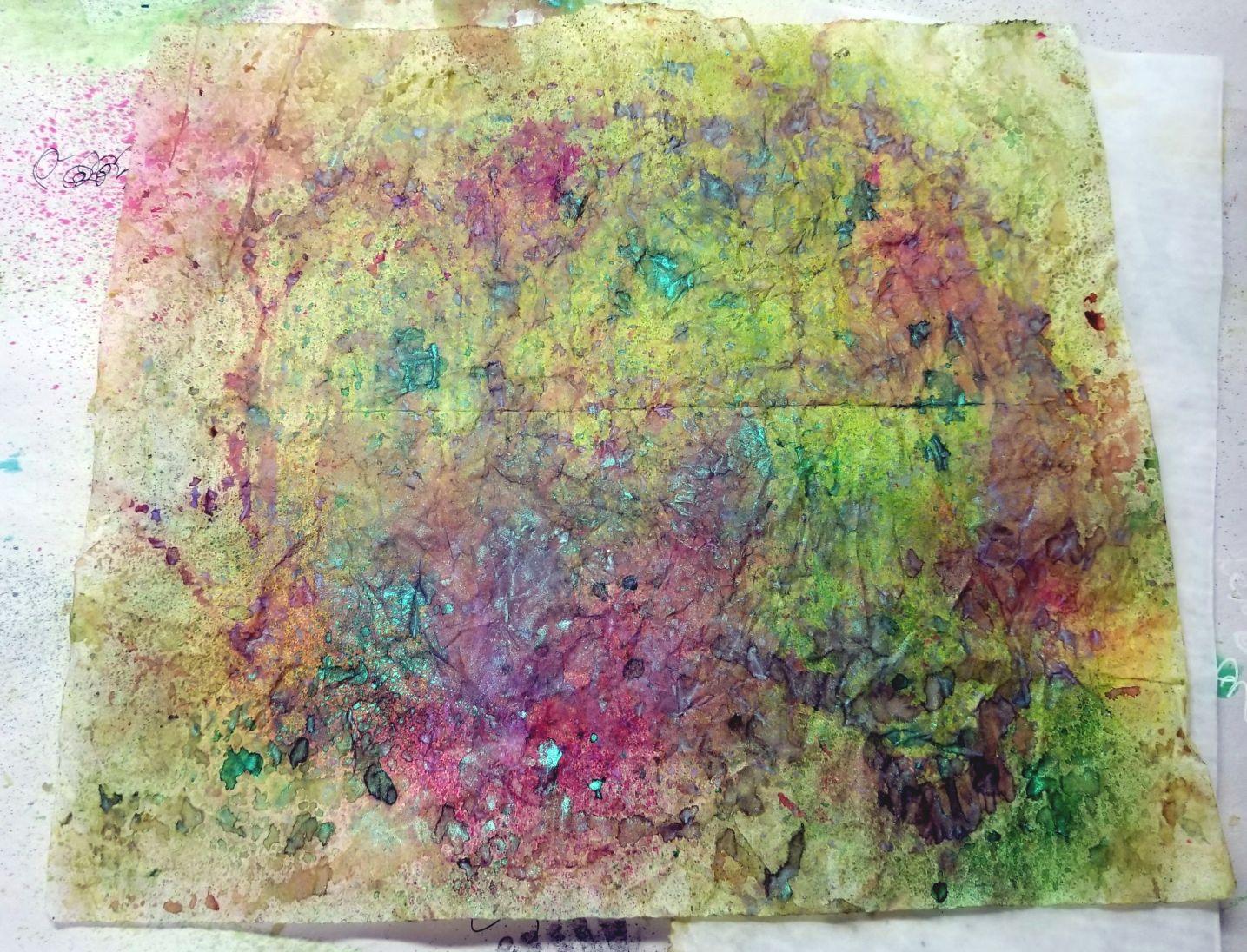 oxide inks & spray inks on deli paper