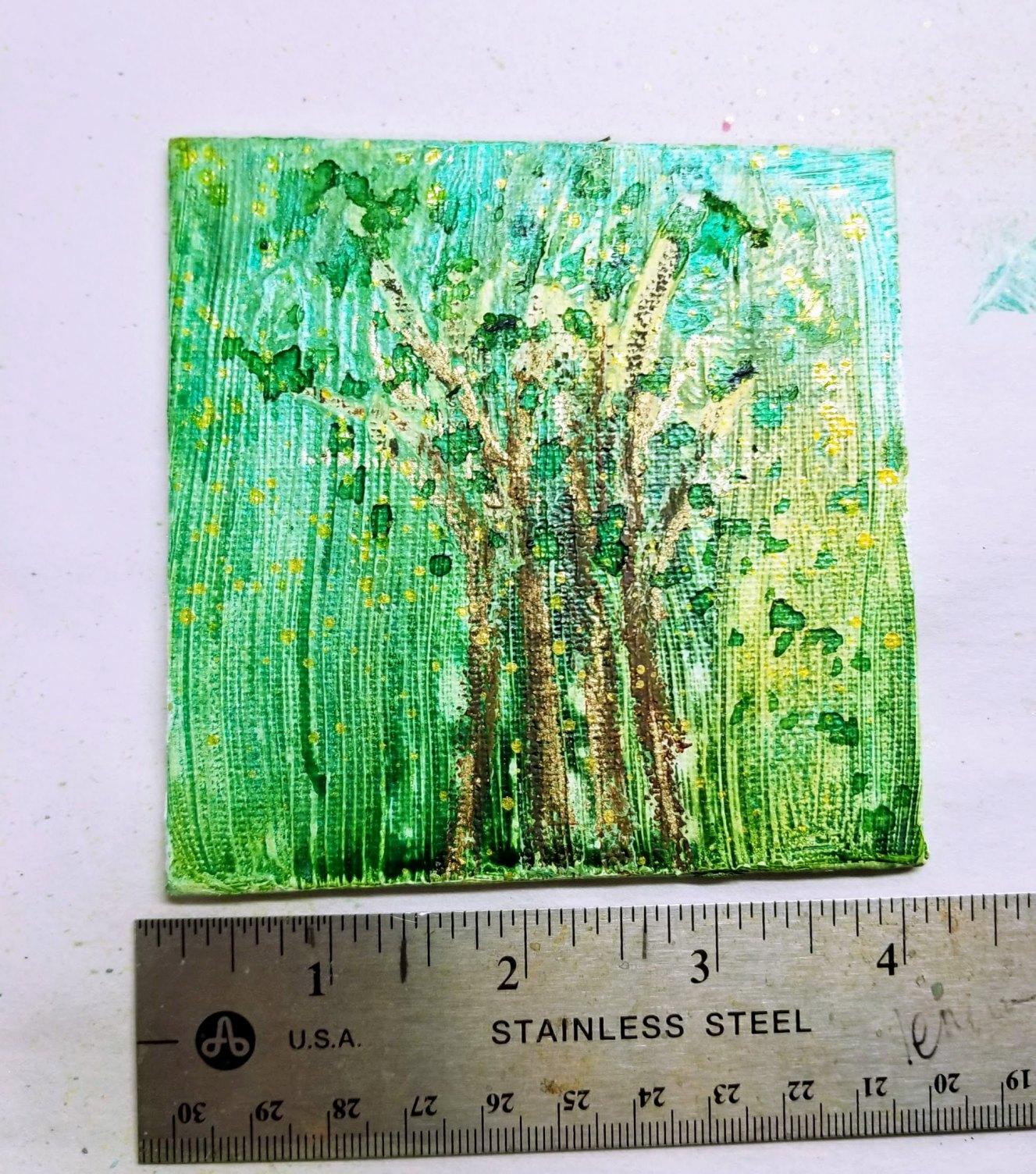 01. spray inks & pastels - 4x4  canvas