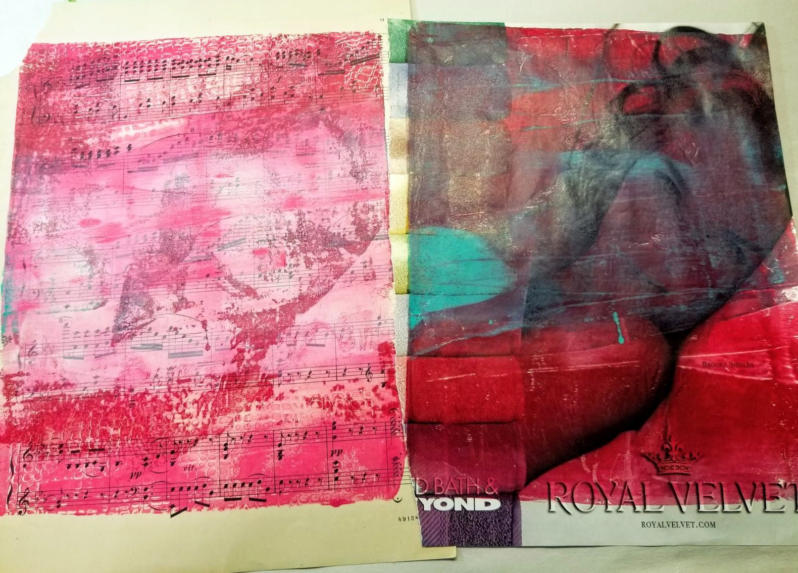 Right: Original magazine image with paint, Left: Just a hint of the image transfer