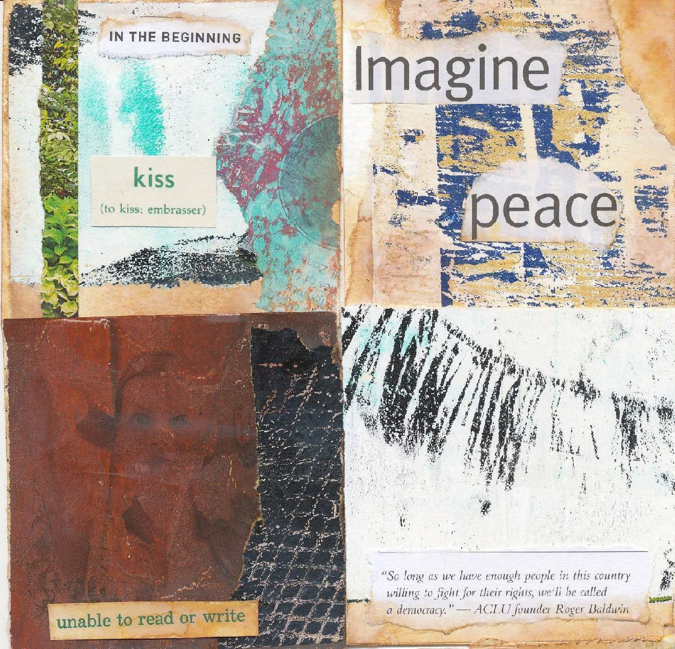 """#316 - #319: 3""""x3"""" watercolor cards / collage and gelli print scraps"""