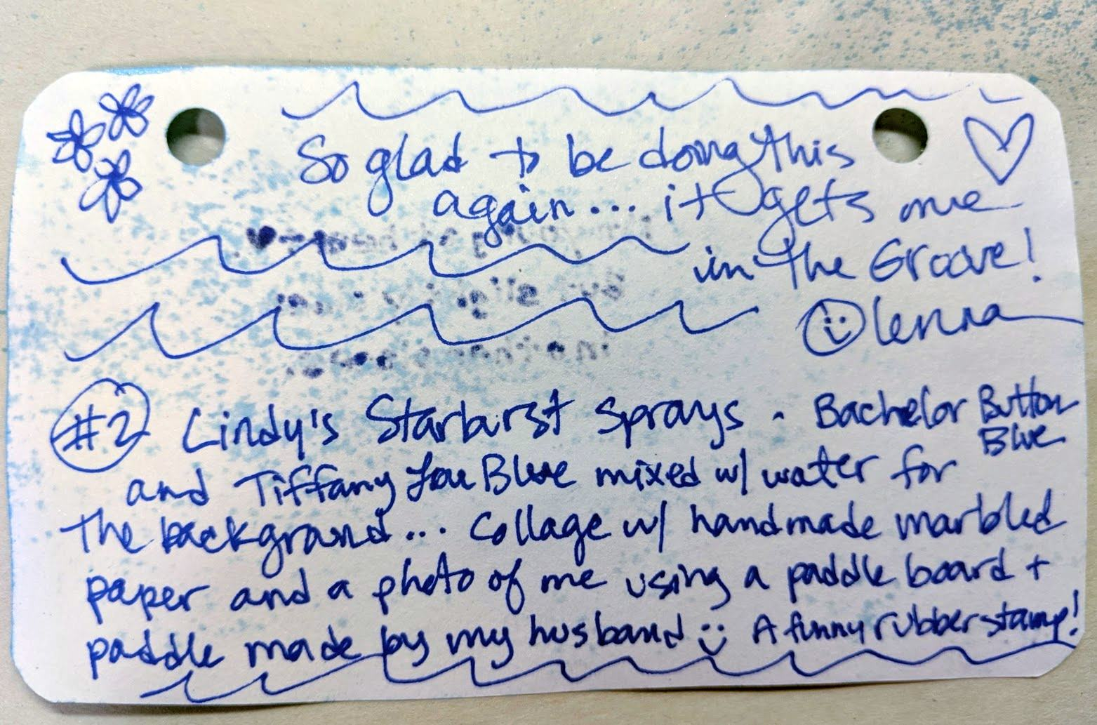 The back of my Index card . . .
