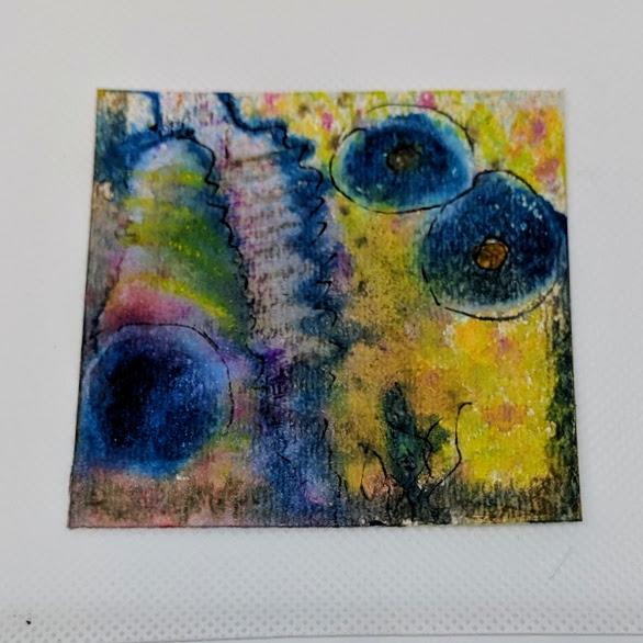 156 - 3x3 watercolor card & ink