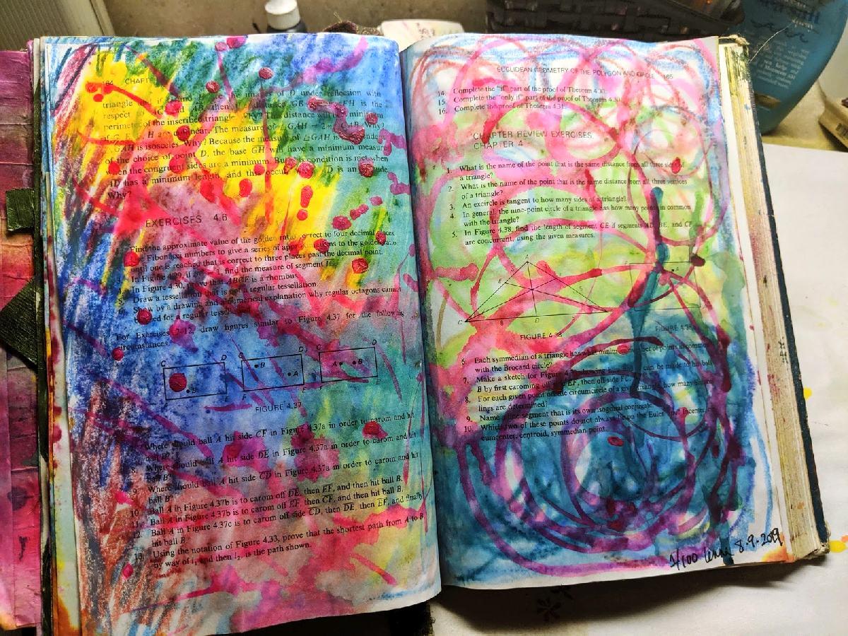 205: 100 steps Art Journaling -day 1