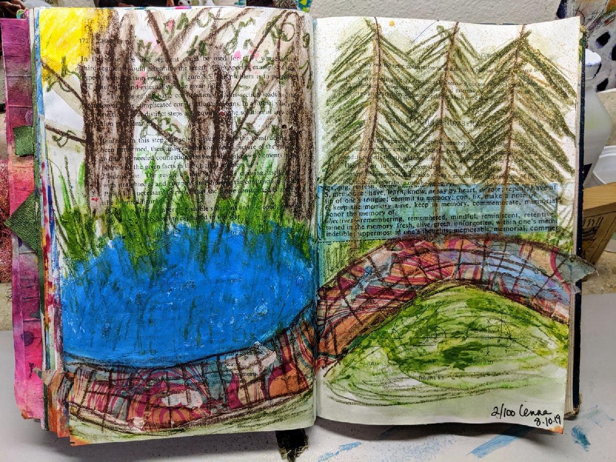 208: 100 steps Art Journaling -day 2