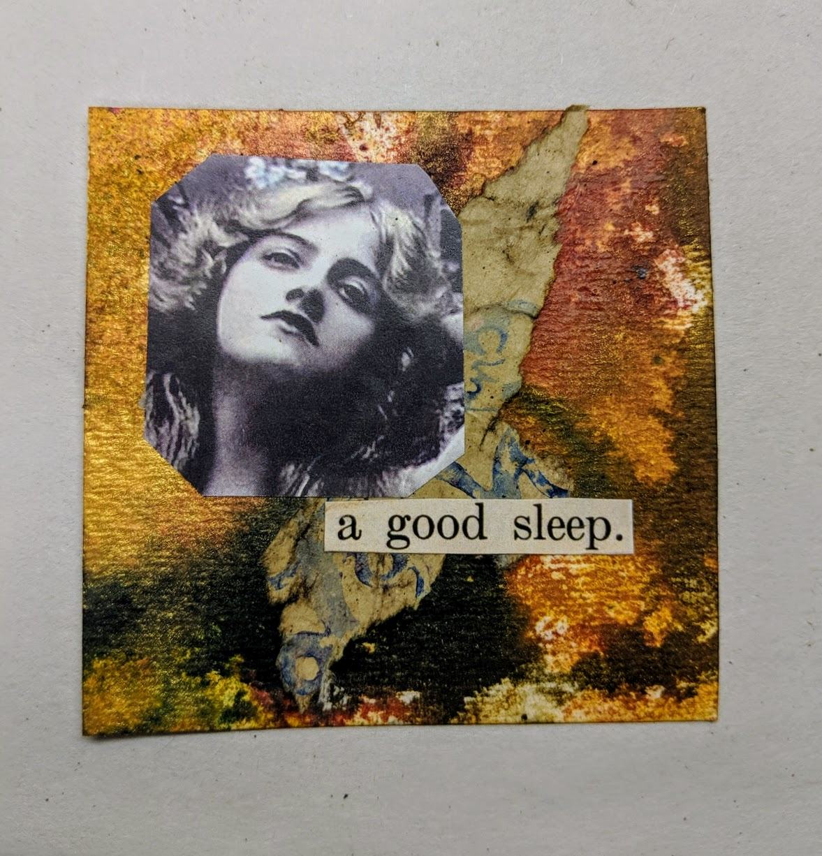 221: 3x3 card with dyes & collage