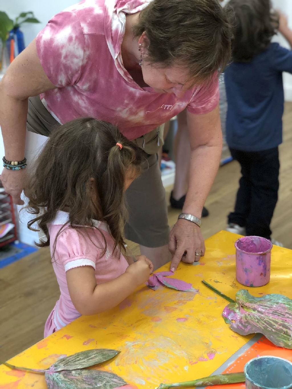 238: leaf printing with granddaughter