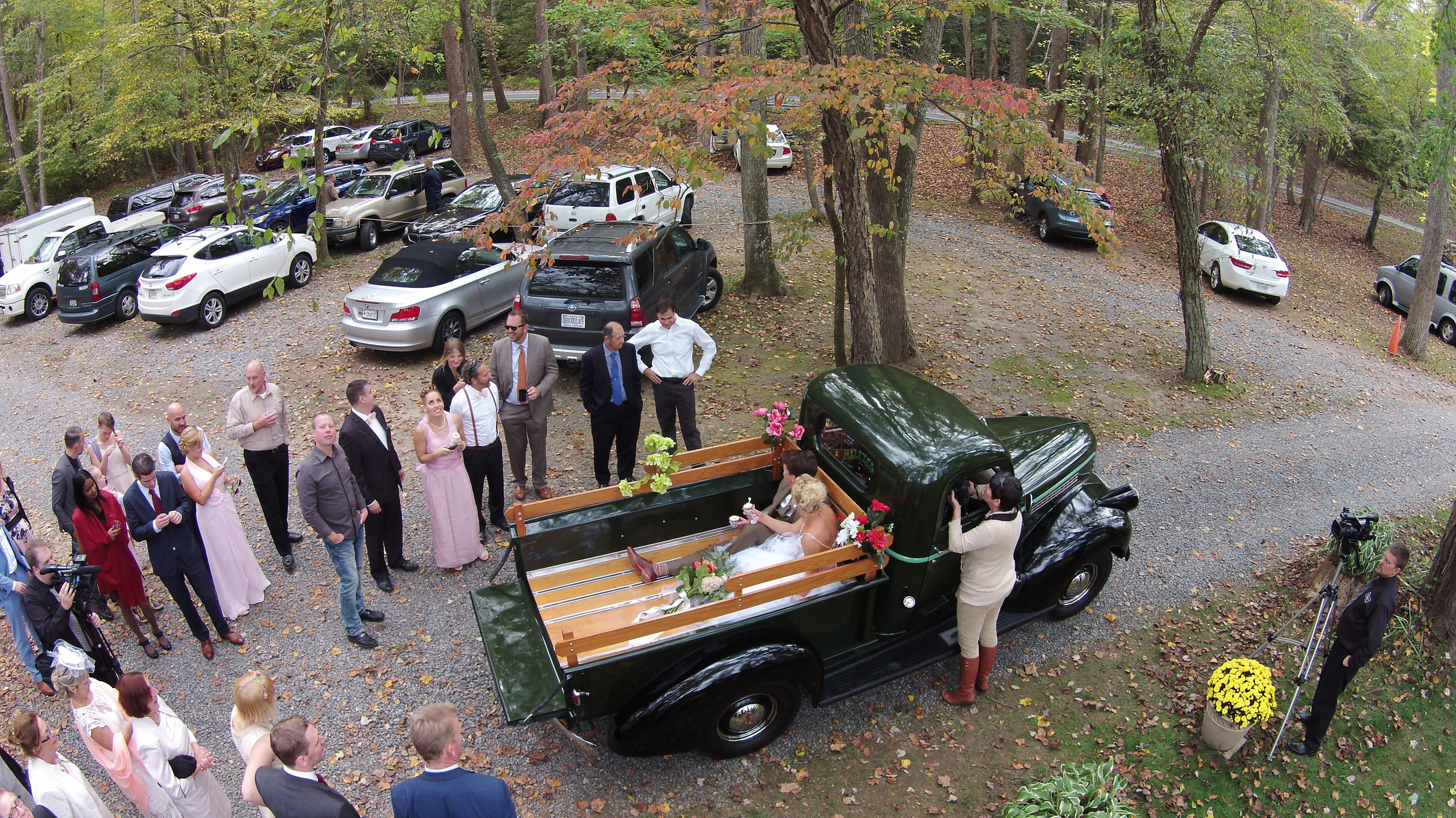 Drawing away: aerial imaging creates a magical effect toward the end of a wedding video.