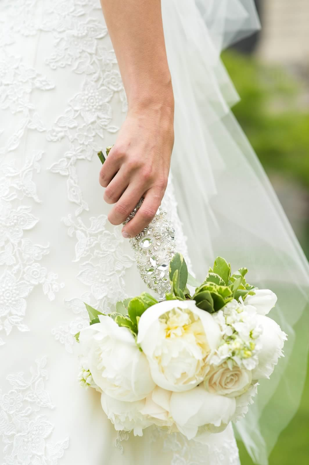 White bridal bouqet with peonies and Vendela roses with Swarovski crystal lace wrap.jpg